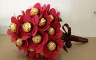 Букеты из конфет фиолетовые. Букеты из конфет, цветы своими руками. Мастер-класс пошагово для начинающих, фото-инструкции