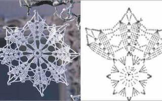 Снежинки крючком со схемами простые и красивые. Как крючком связать красивую снежинку? Снежинки крючком: узор, схемы с описанием для начинающих