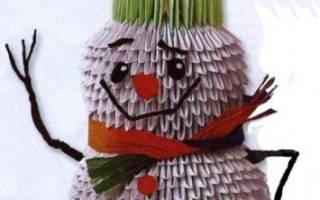 Снеговик из модулей пошаговая инструкция. Модульное оригами снеговик. Бумажная поделка на Новый Год