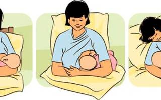 Как правильно кормить грудью сидя. Малыш лежит на подушке. Лежа из верхней груди