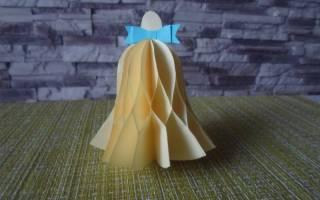 Колокольчик оригами. Мастер-класс с пошаговым фото. Новогодние колокольчики из цветной бумаги